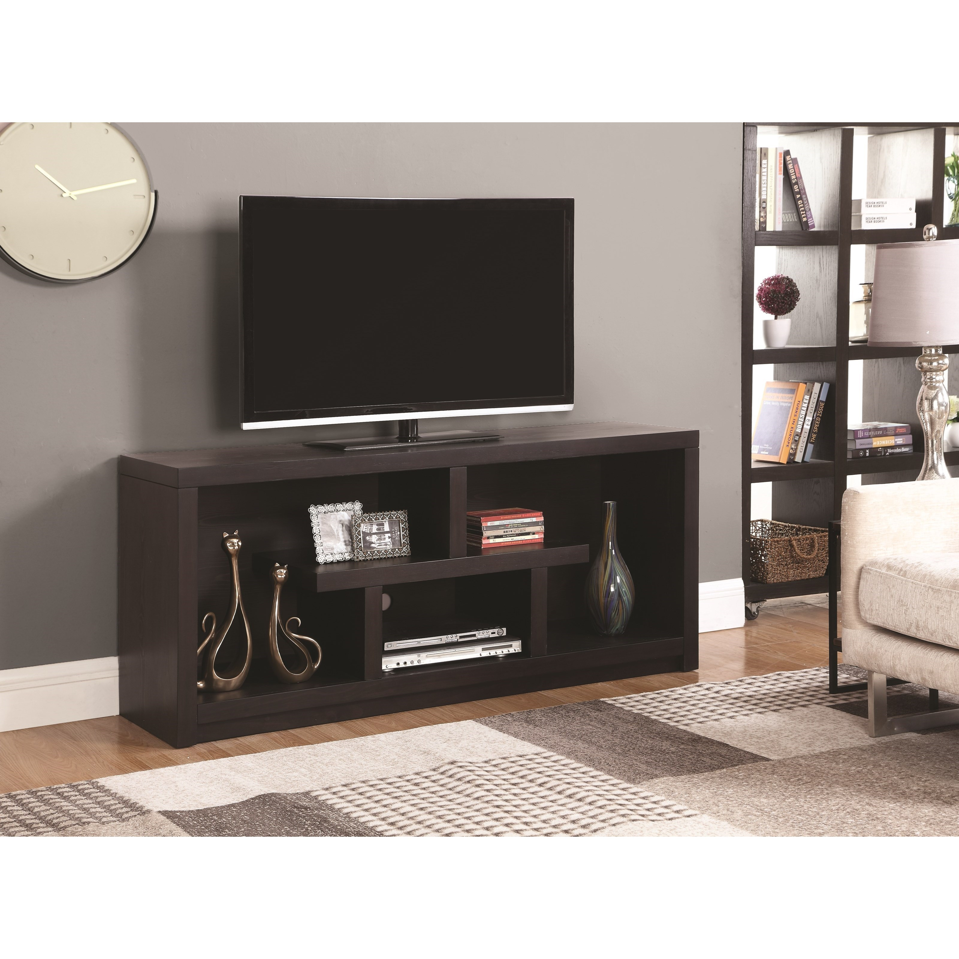 701039 macy transitional tv stand with open shelves