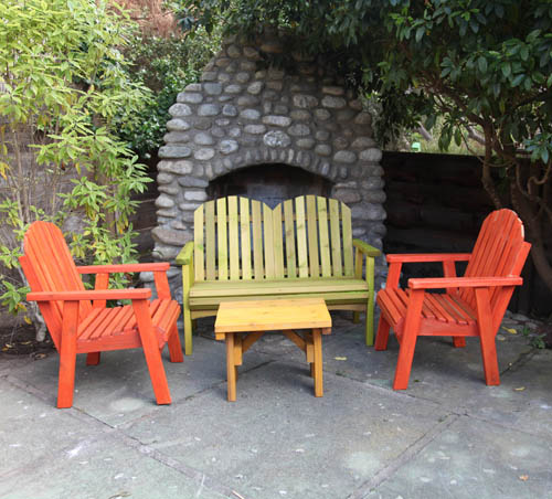 Redwood out door 4 piece chair set