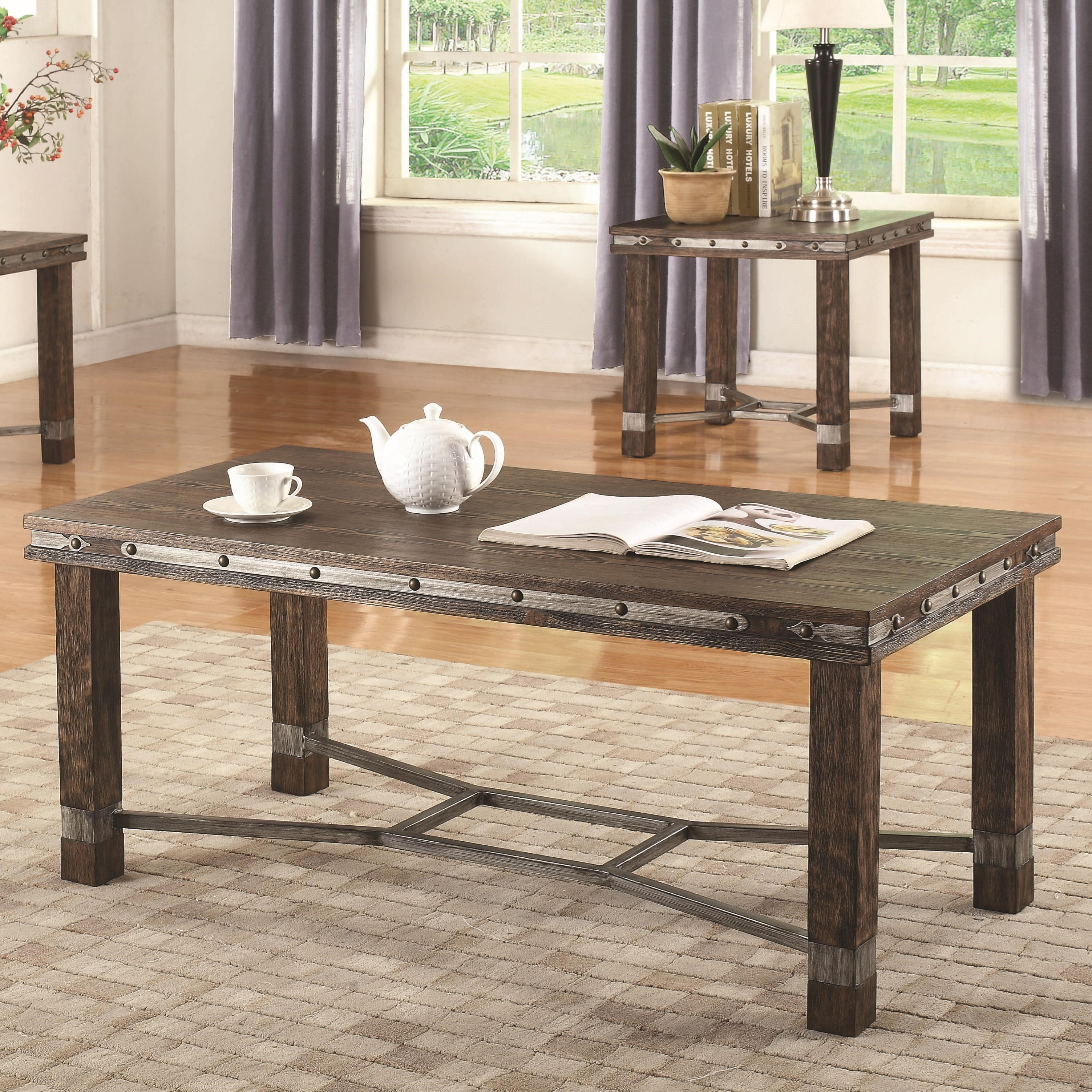 703548 rustic coffee table