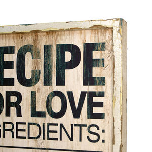 Recipe for love sign