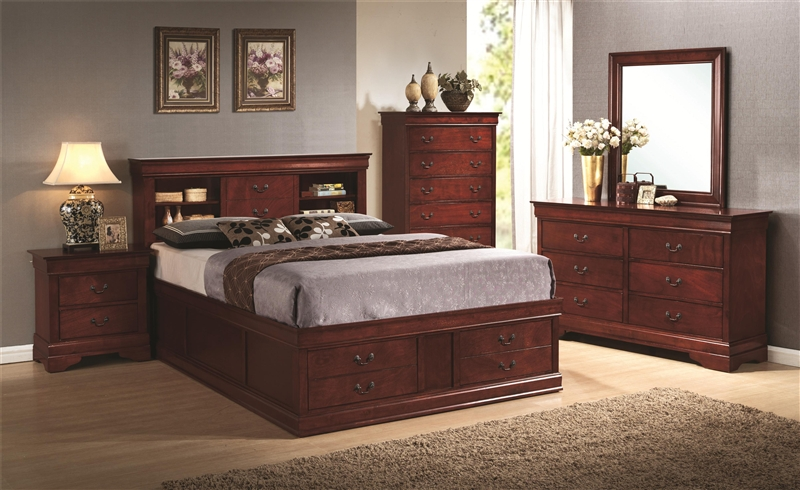 Louis philippe queen bed with storage in headboard and footboard