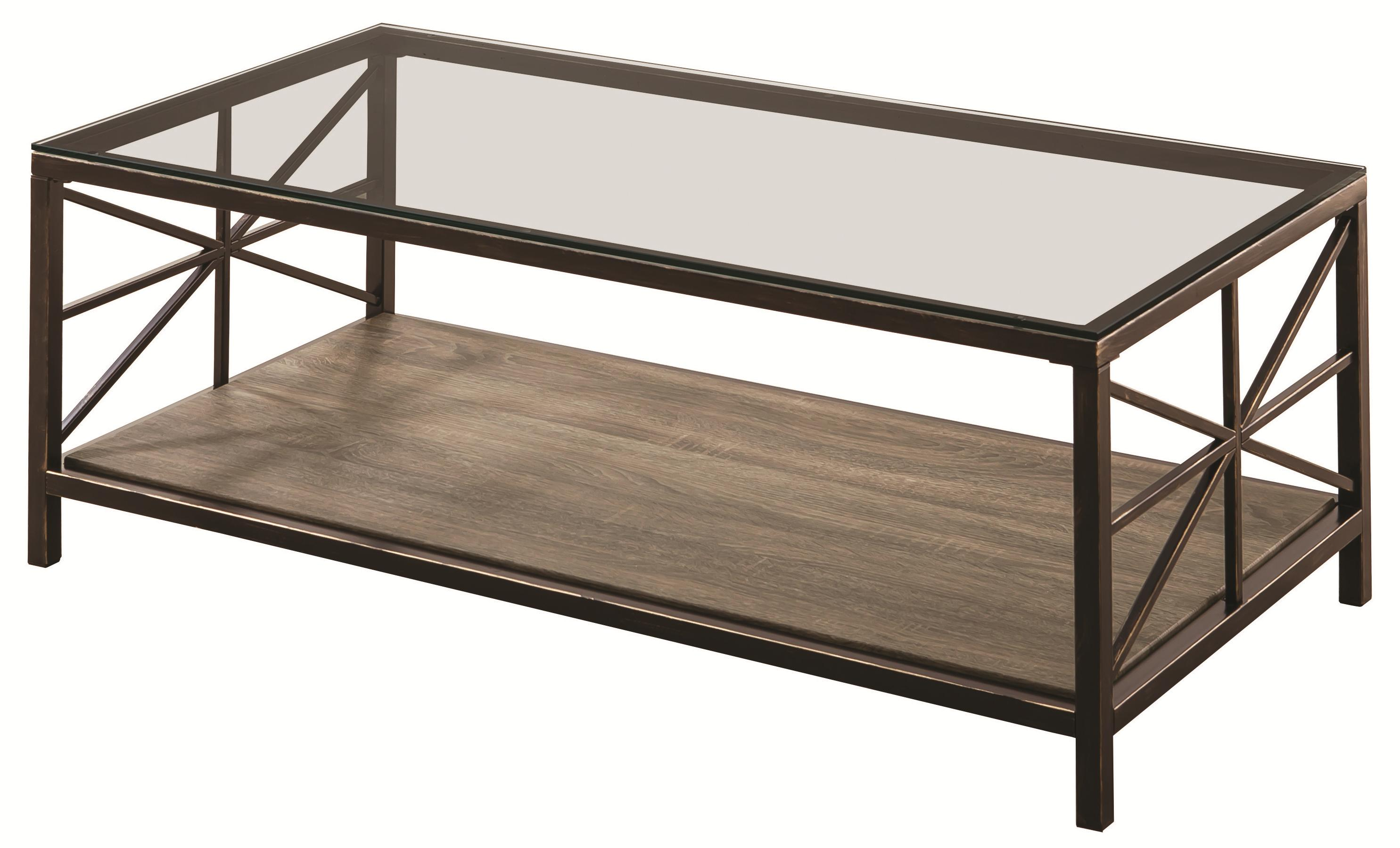 701398 avondale rustic coffee table with wood shelf and glass top