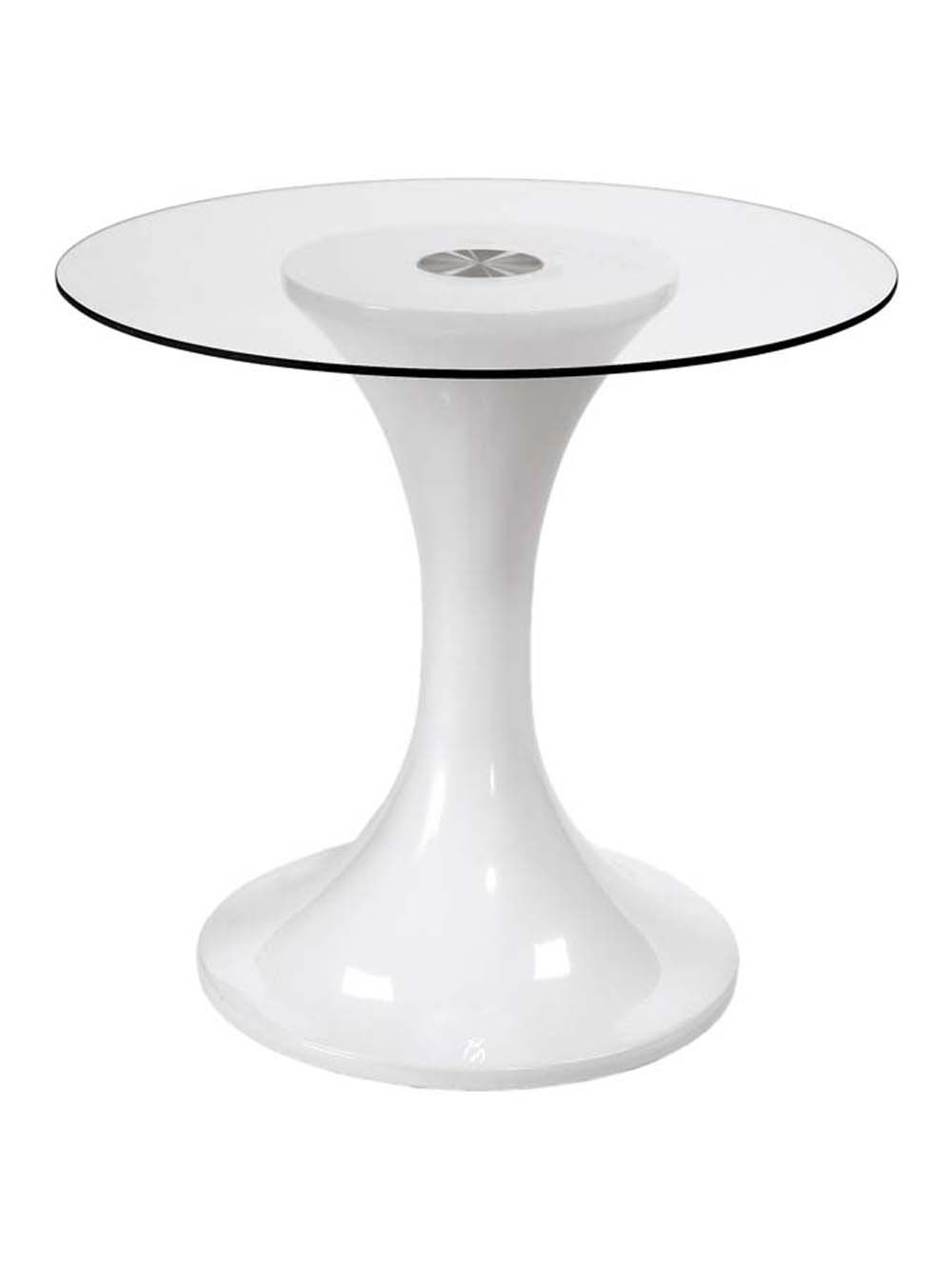 White johnie glass dining table white base
