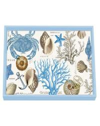 Seashore decoupage wooden vanity tray