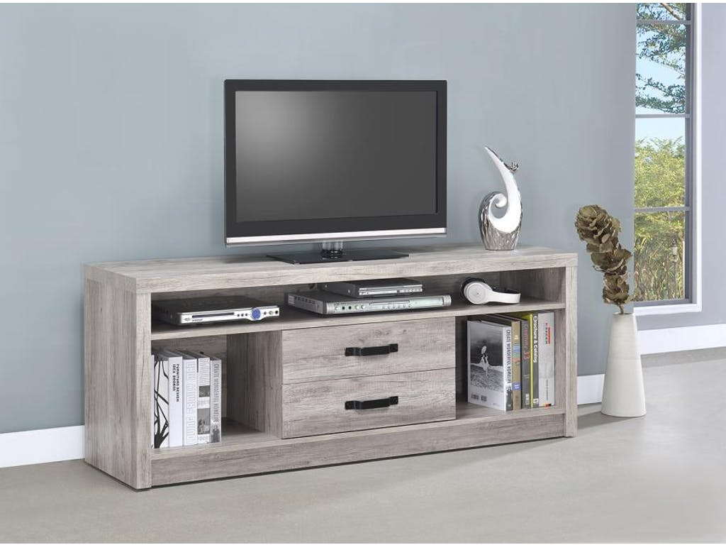 701024 tv console grey driftwood