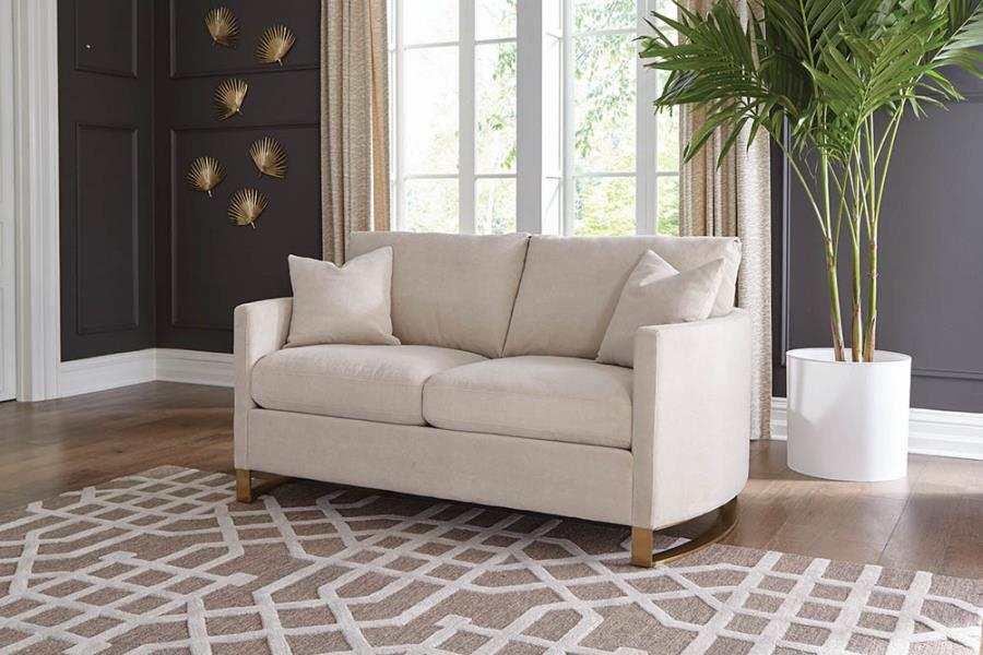 Corliss loveseat arched arms beige and rose brass