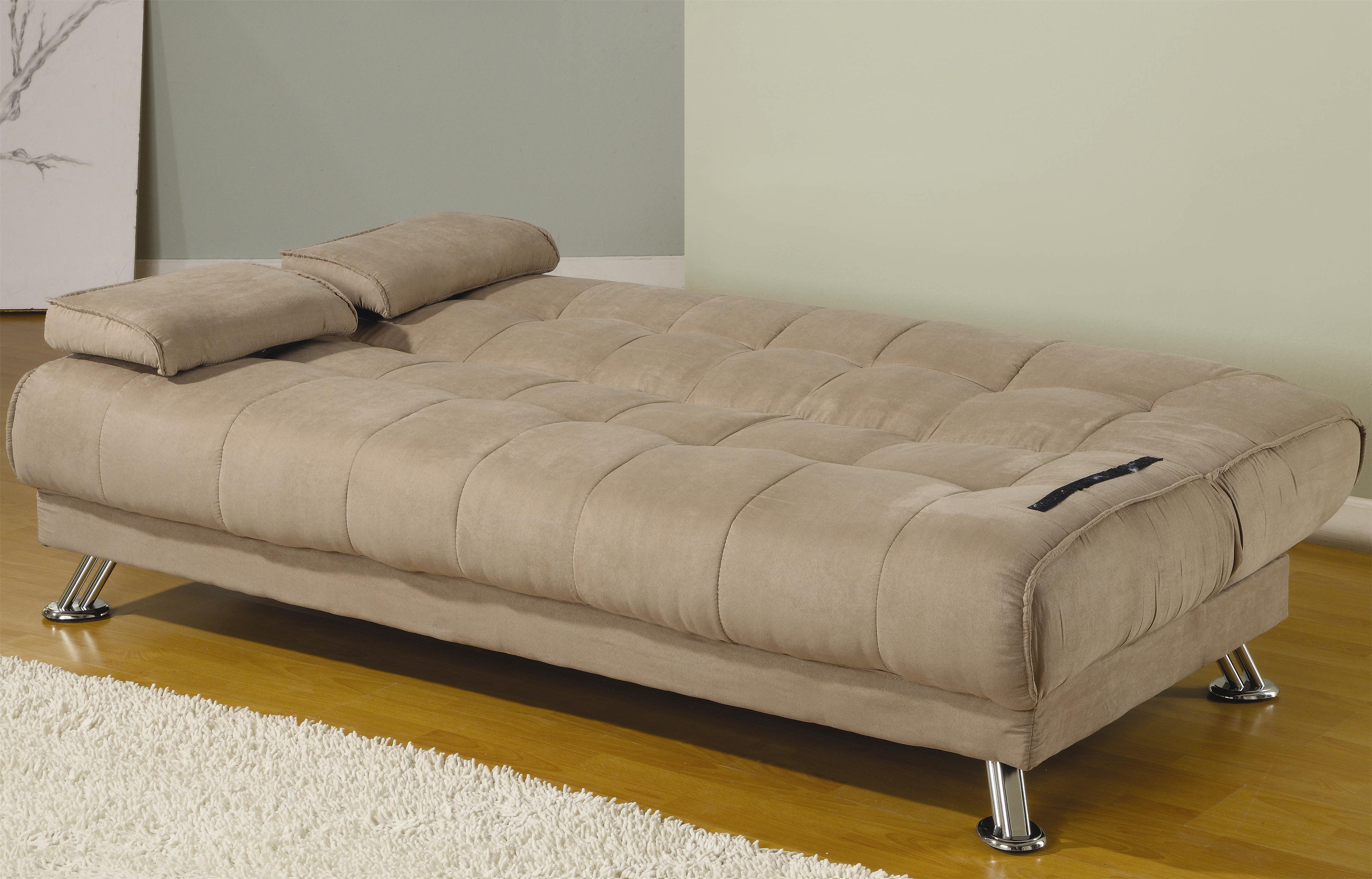 Fabric convertible sofa bed with removable armrests