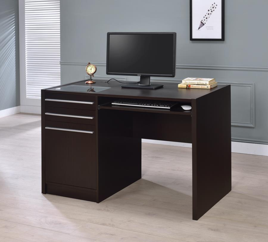 Halston 3-drawer rectangular connect-it office desk cappuccino