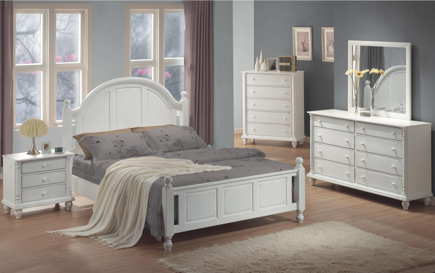 Cal king 4 pc set, kayla (bed, dresser, nightstand, mirror)