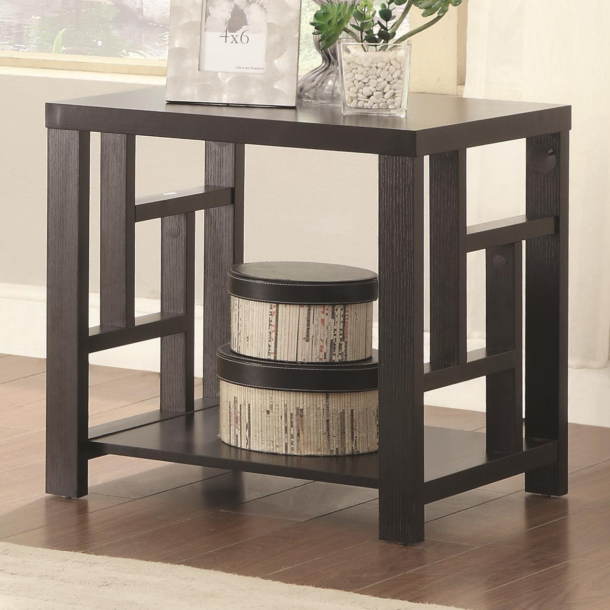 703537 end table with window pane design