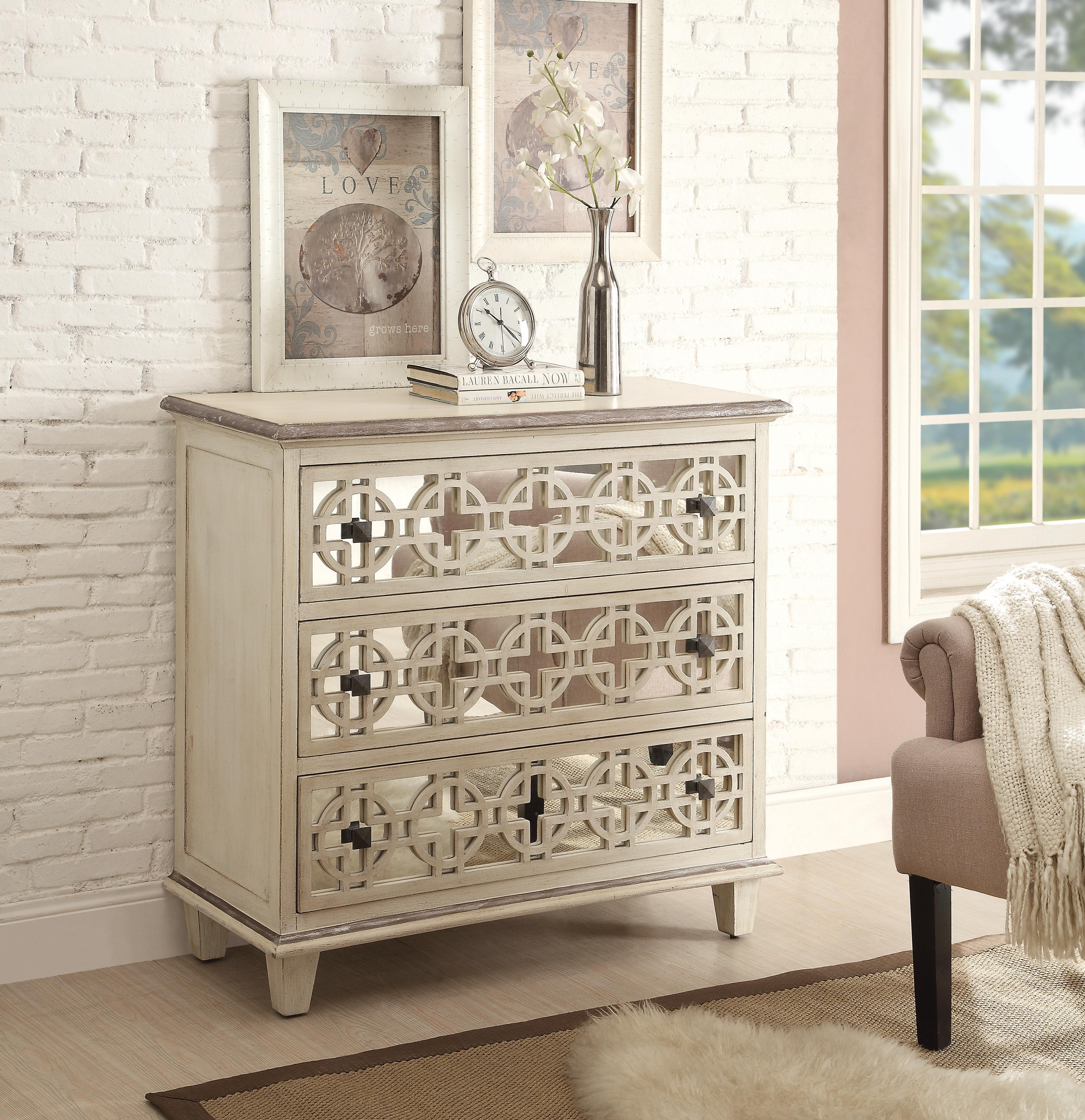 Eggshell accent cabinet with 3 mirrored drawers