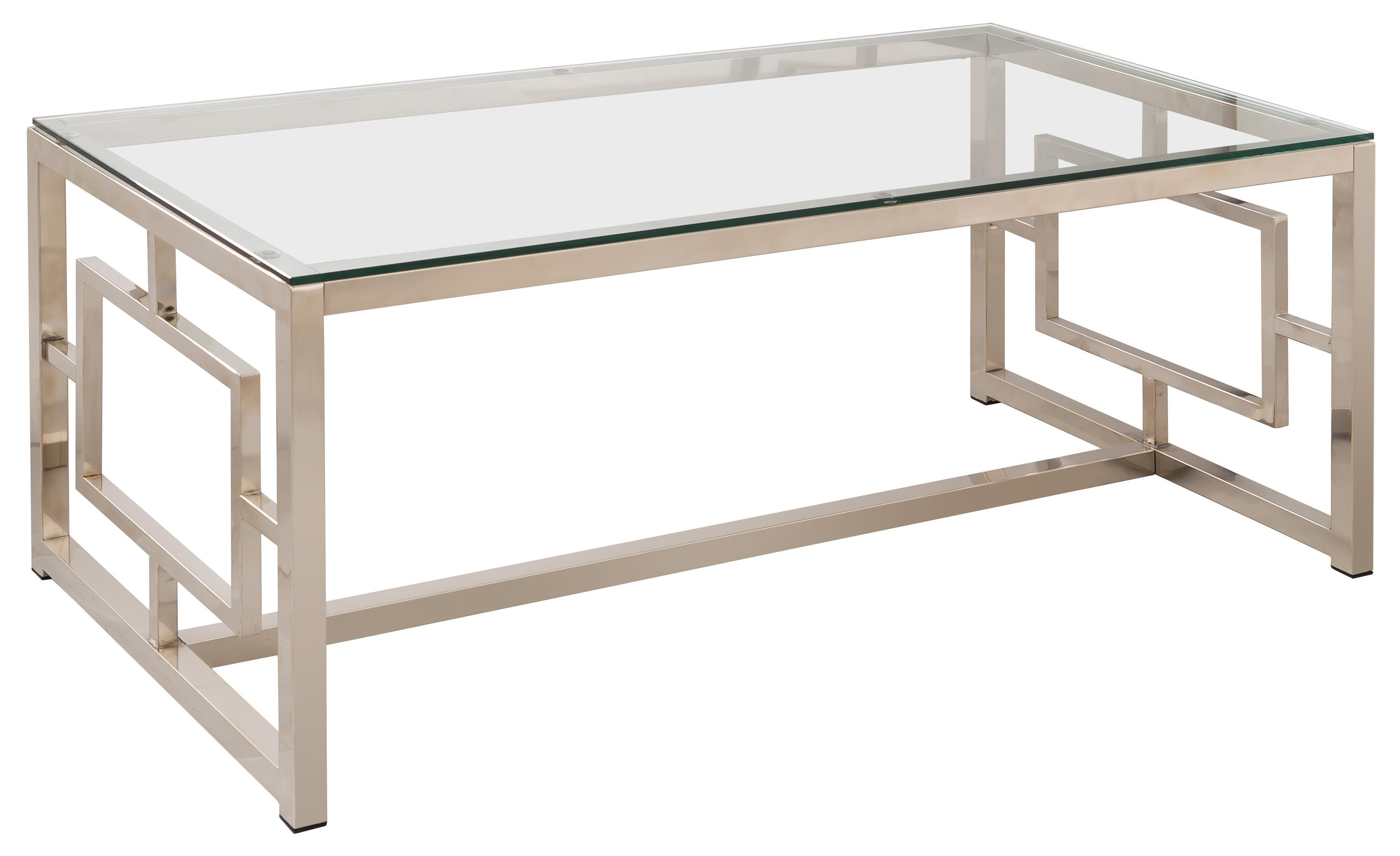 703738 contemporary metal coffee table with glass table top & geometric motif