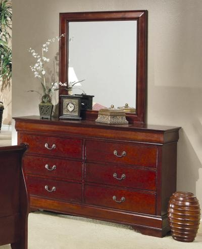 Louis philippe 6 drawer dresser brown