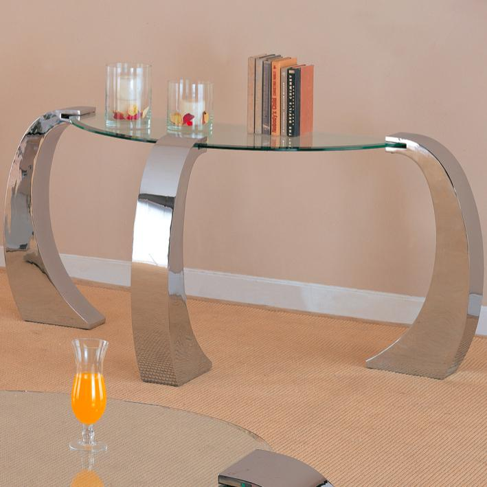 720059 custer contemporary sofa table with metal base and curved glass top
