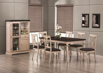Camille Transitional White Ash Dining Table