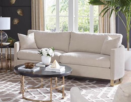 Corliss sofa arched arms beige and rose brass