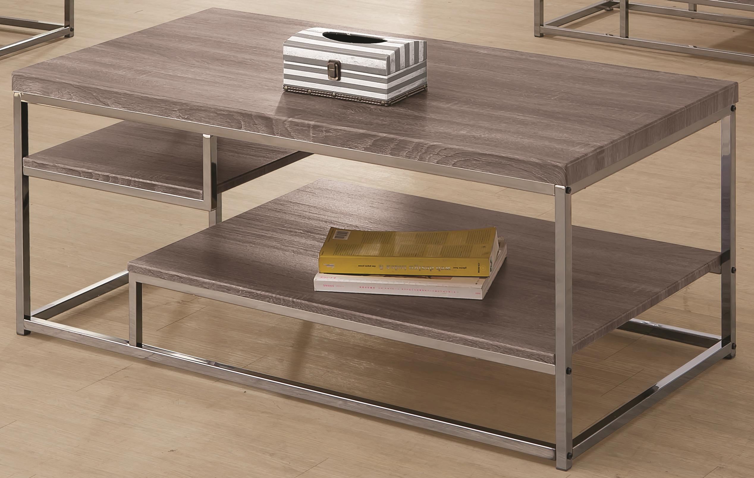 703728 2 shelf coffee table with wood top and chrome frame