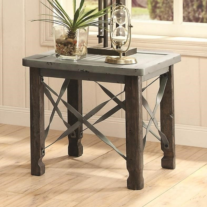 700494 rustic end table with sea foam blue top