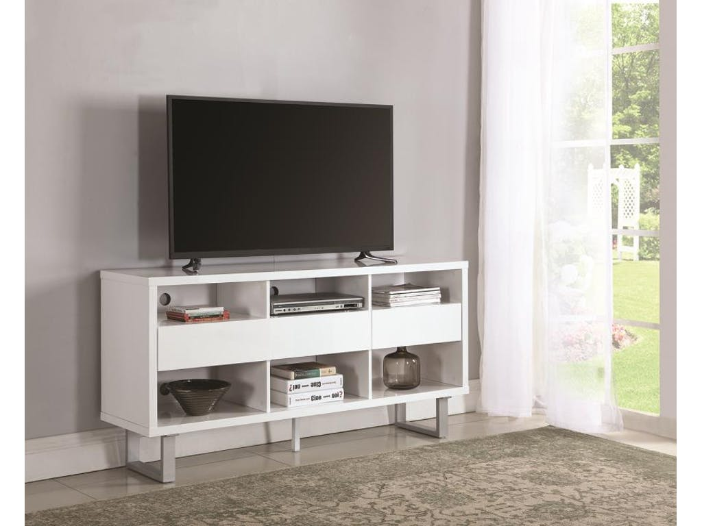 701070 tv stand high glossy white