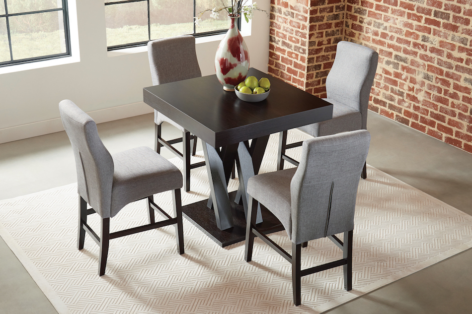 Five piece counter height table set with stools