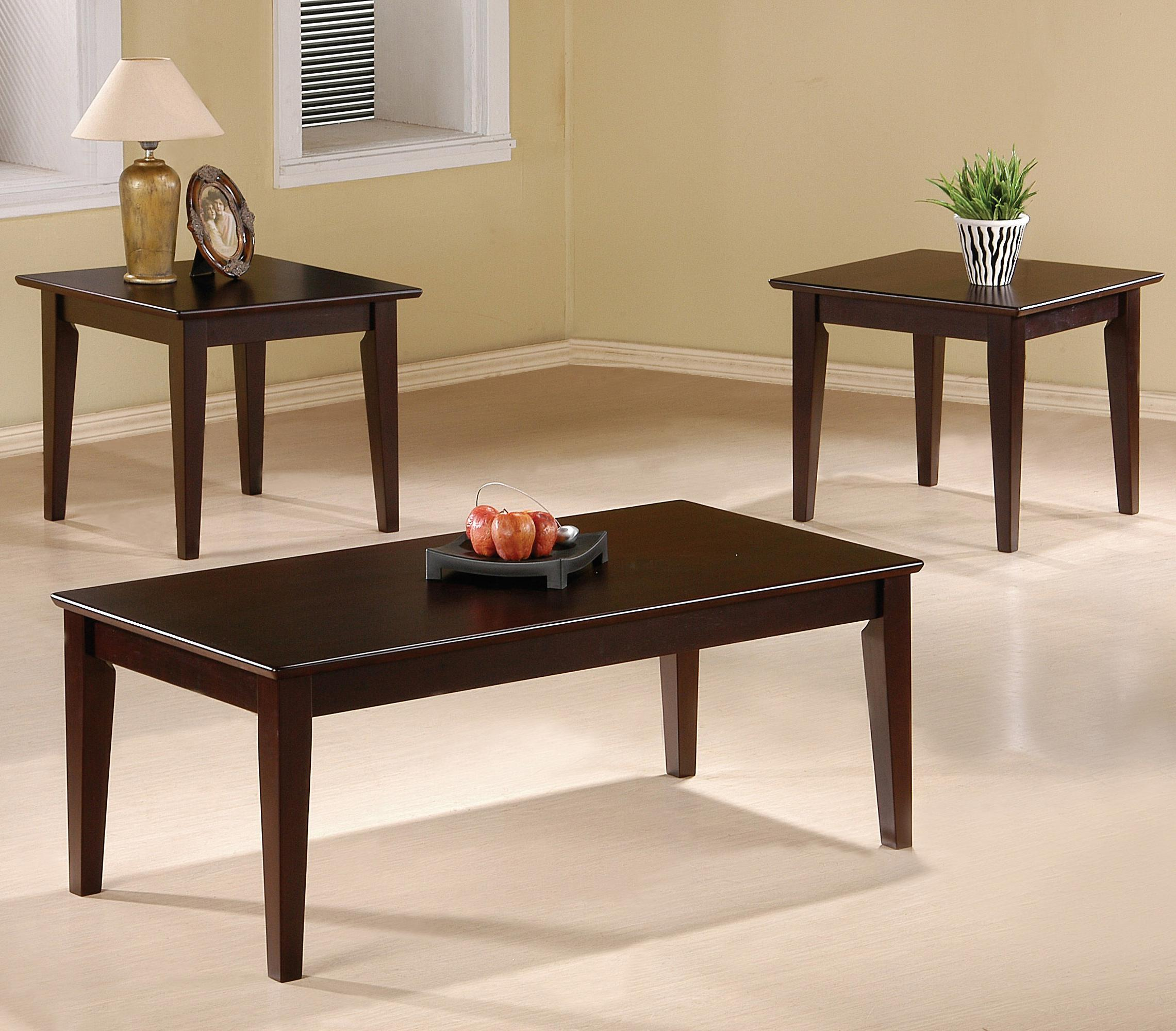 5880 occasional table sets 3 piece occasional table set with tapered legs