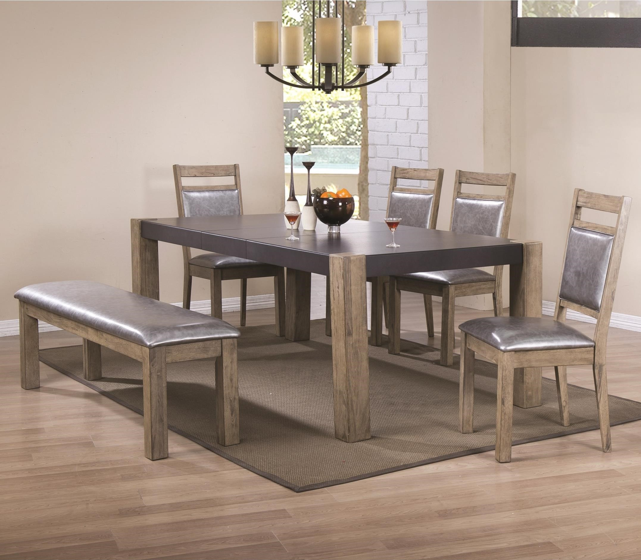 Ludolf dining table and chair set with bench