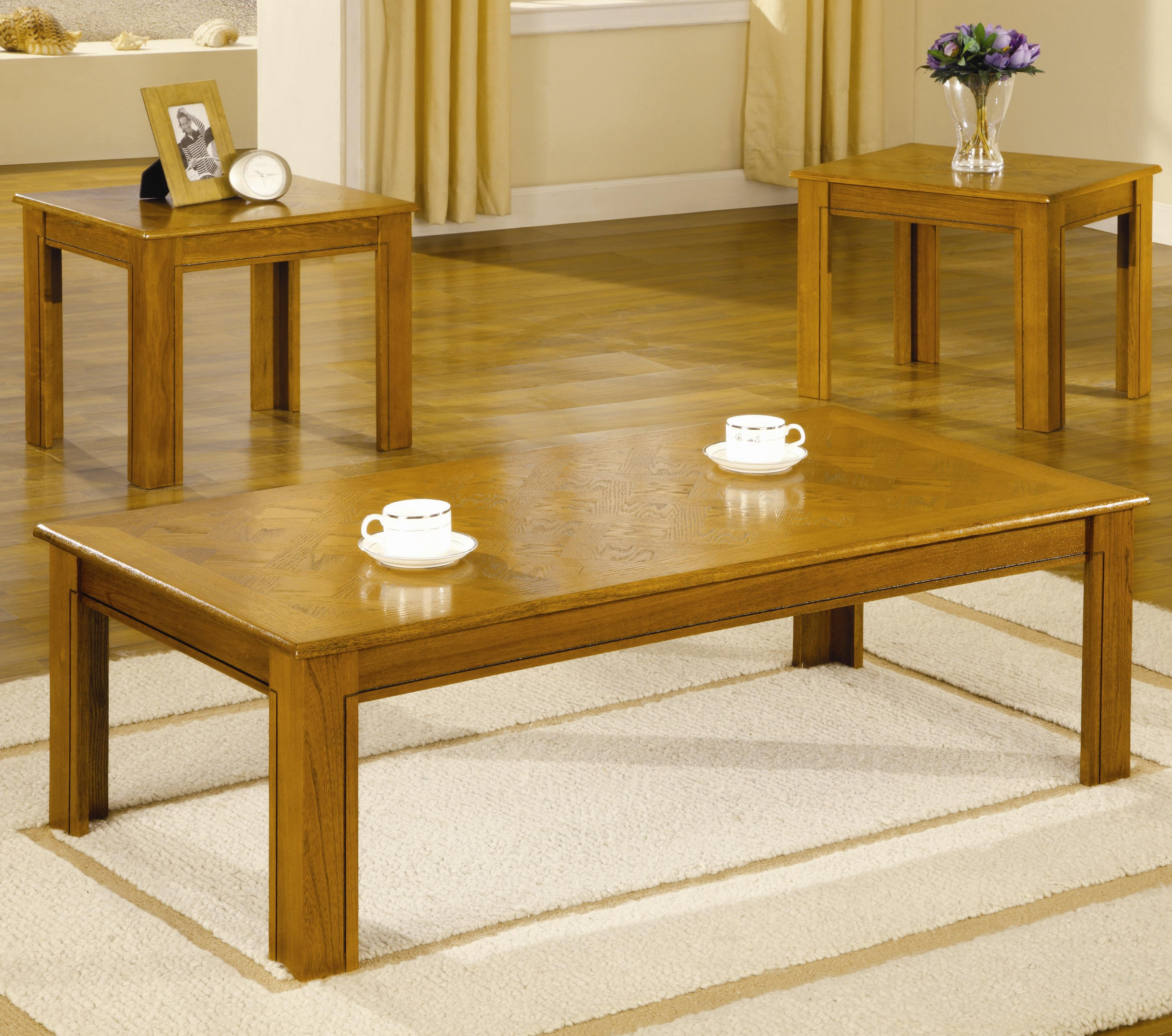 5168 occasional table sets 3 piece parquet top occasional table set