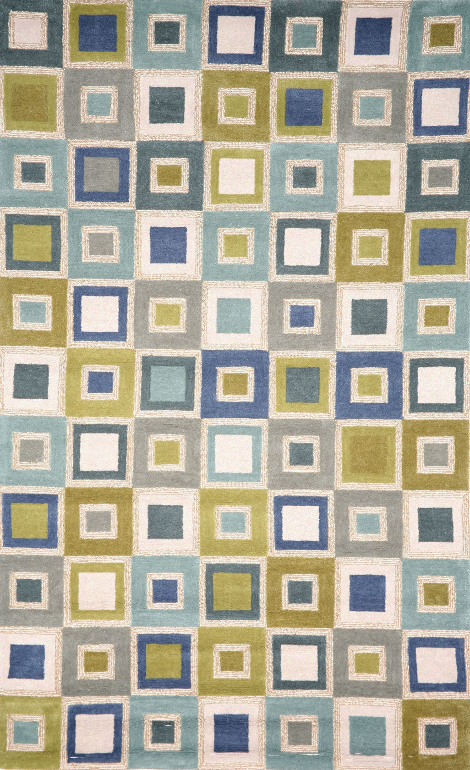 Spello big squares ocean hand tufted 5'x7'6