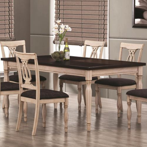 Antique White Kitchen Table: Camille Transitional White Ash 5pc Dining Table Set