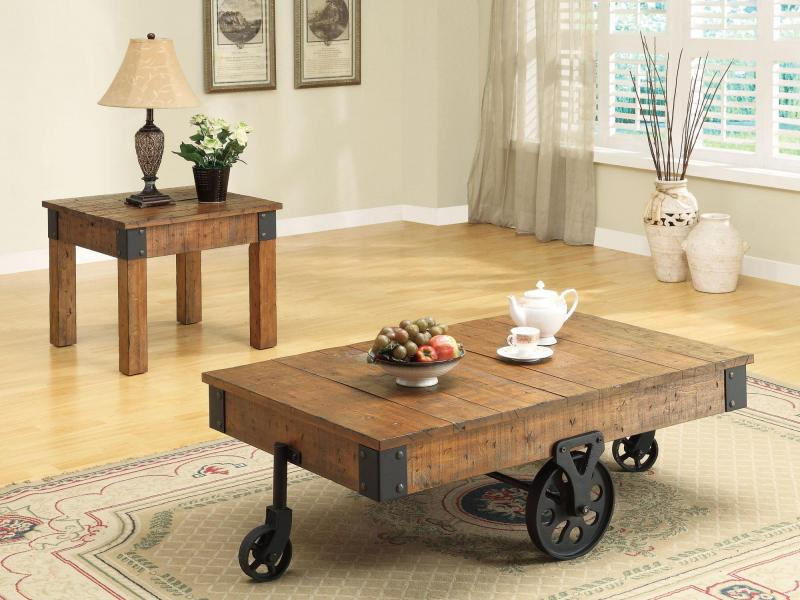 Accent tables distressed country wagon coffee table