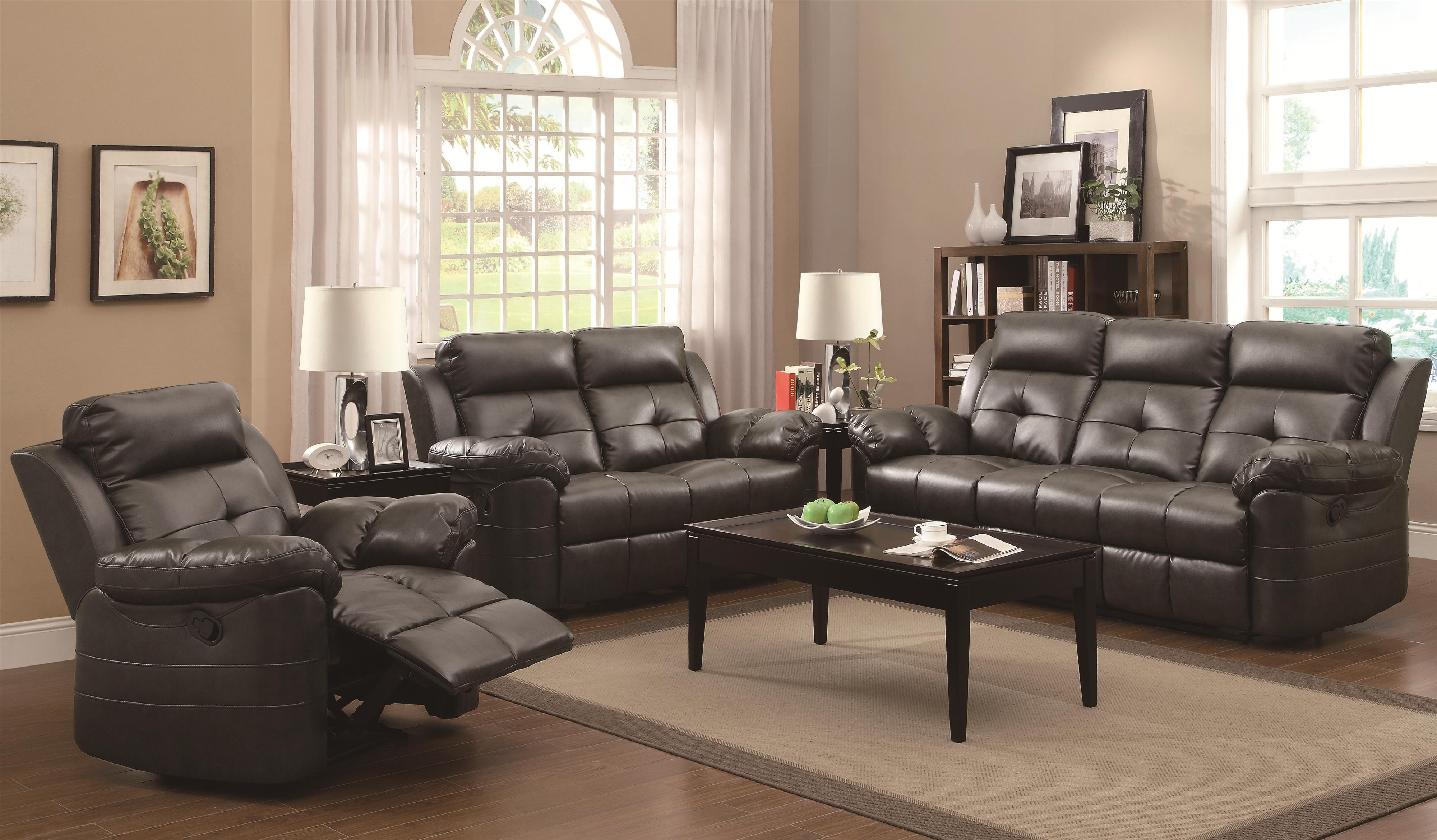 Bana Home Decor Keating Reclining Motion Love Seat With Contemporay Style