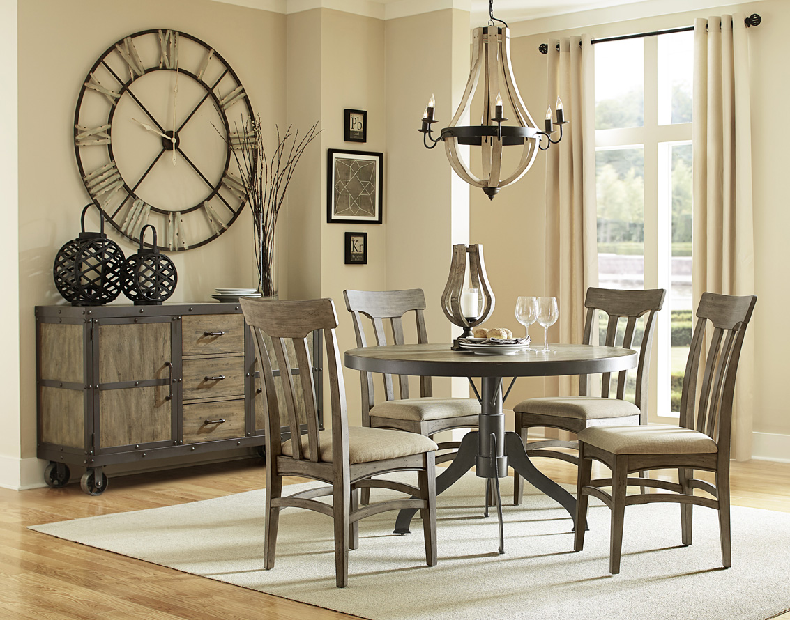 Walton iron wood round dining table chairs bana home - Armoire style industriel ...