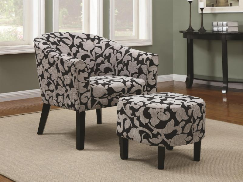 Accent Seating Barrel Back Accent Chair And Ottoman Set With White And Gray  Floral Print