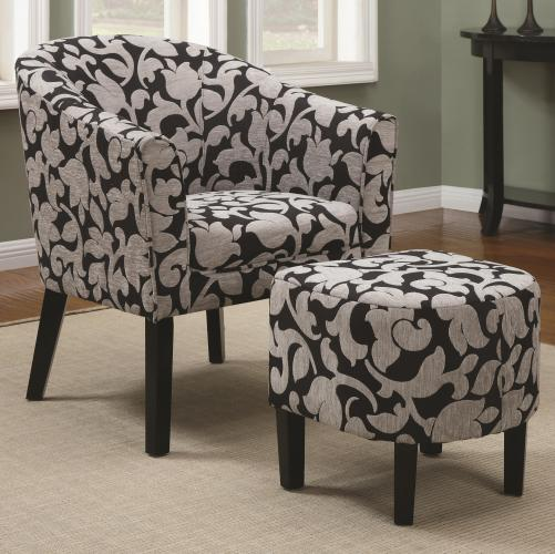 Accent Seating Barrel Back Accent Chair And Ottoman Set