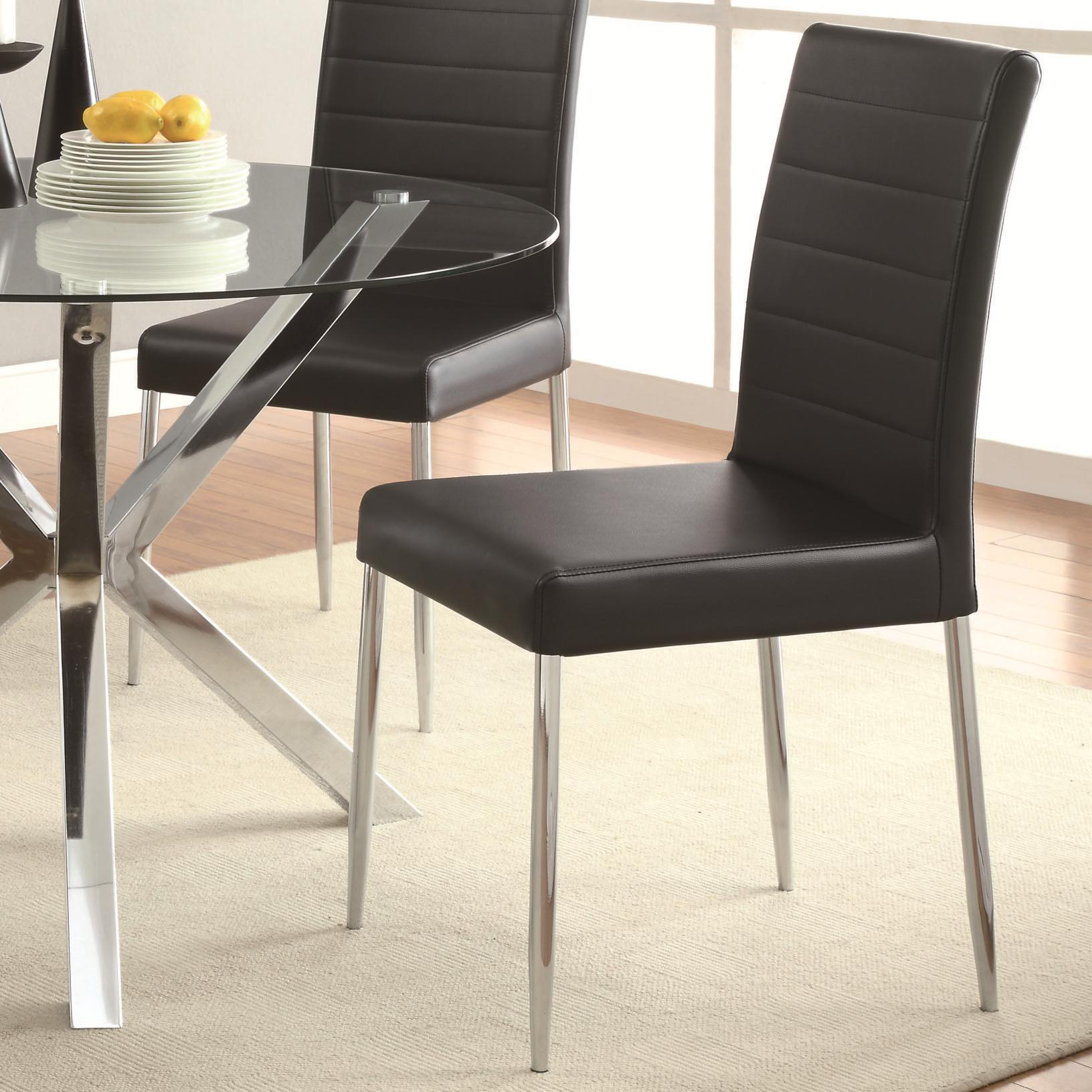 Vance contemporary dining chair w black vinyl cushion bana home