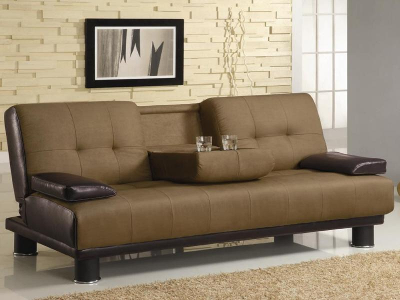 Two tone convertible sofa bed with drop down console for Couch converts to bunk bed price