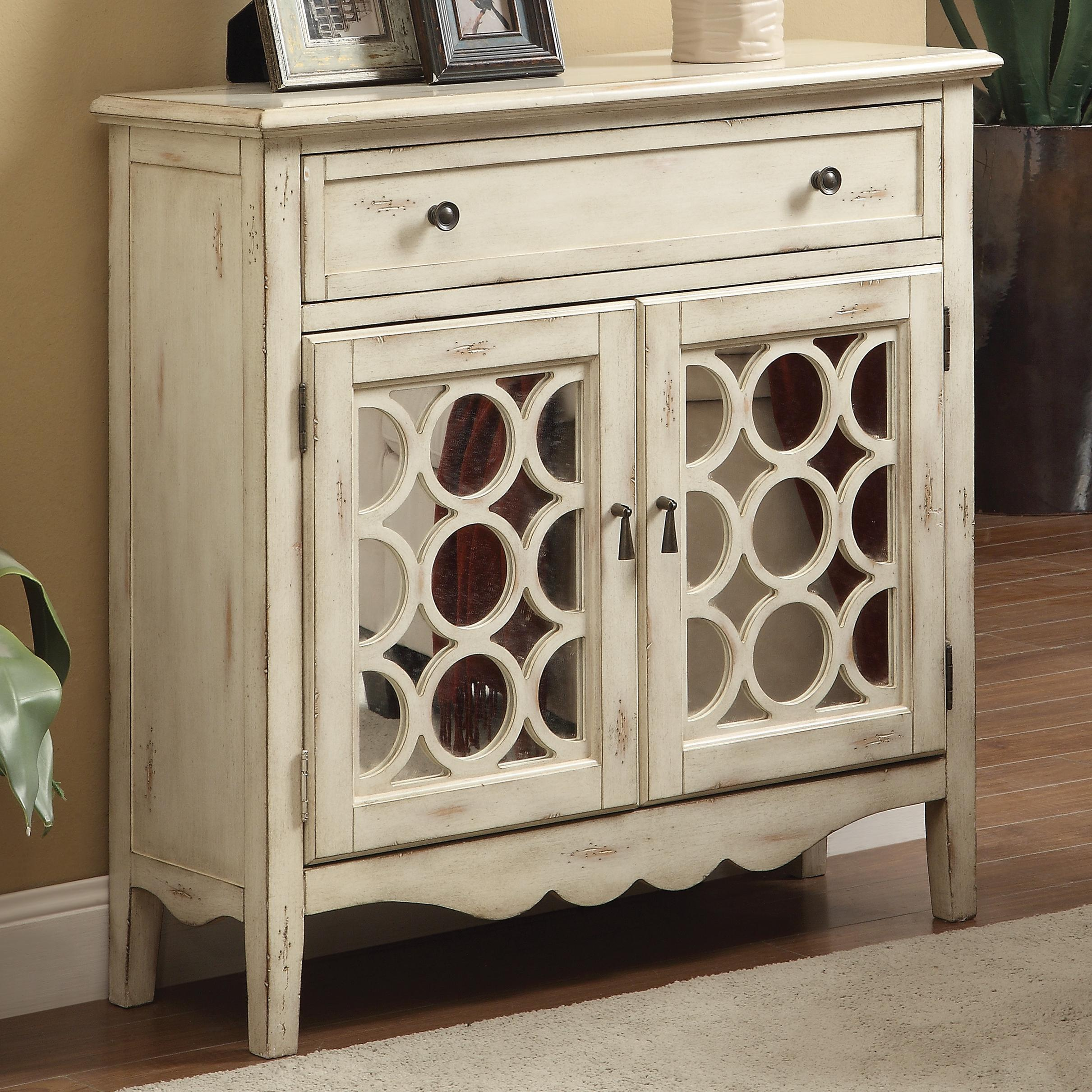 Antiqued white finish accent cabinet with mirror doors for White mirrored cabinet