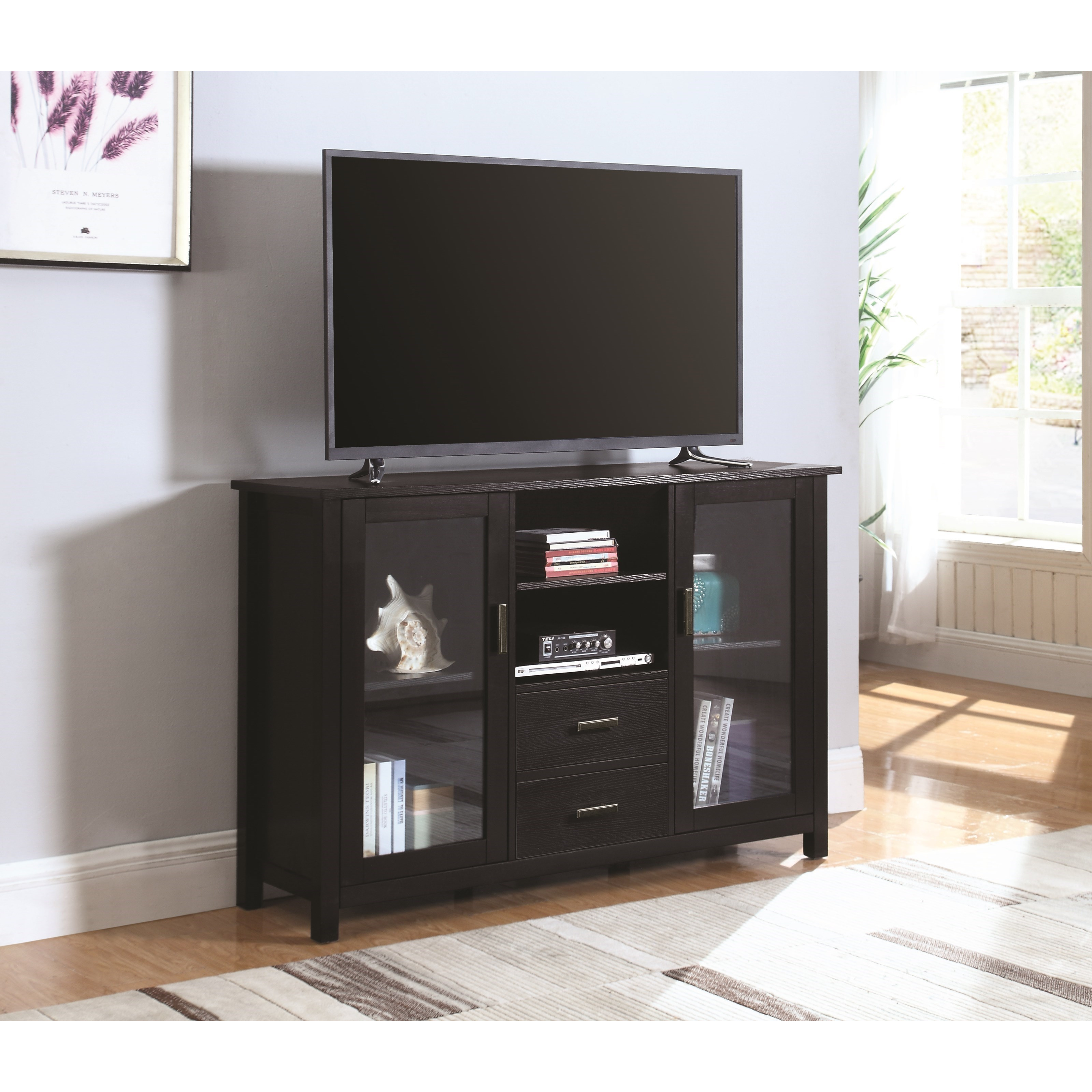 701045 trista black transitional tv stand with glass doors