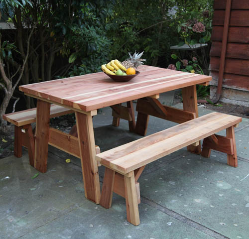 Redwood out door picnic table set