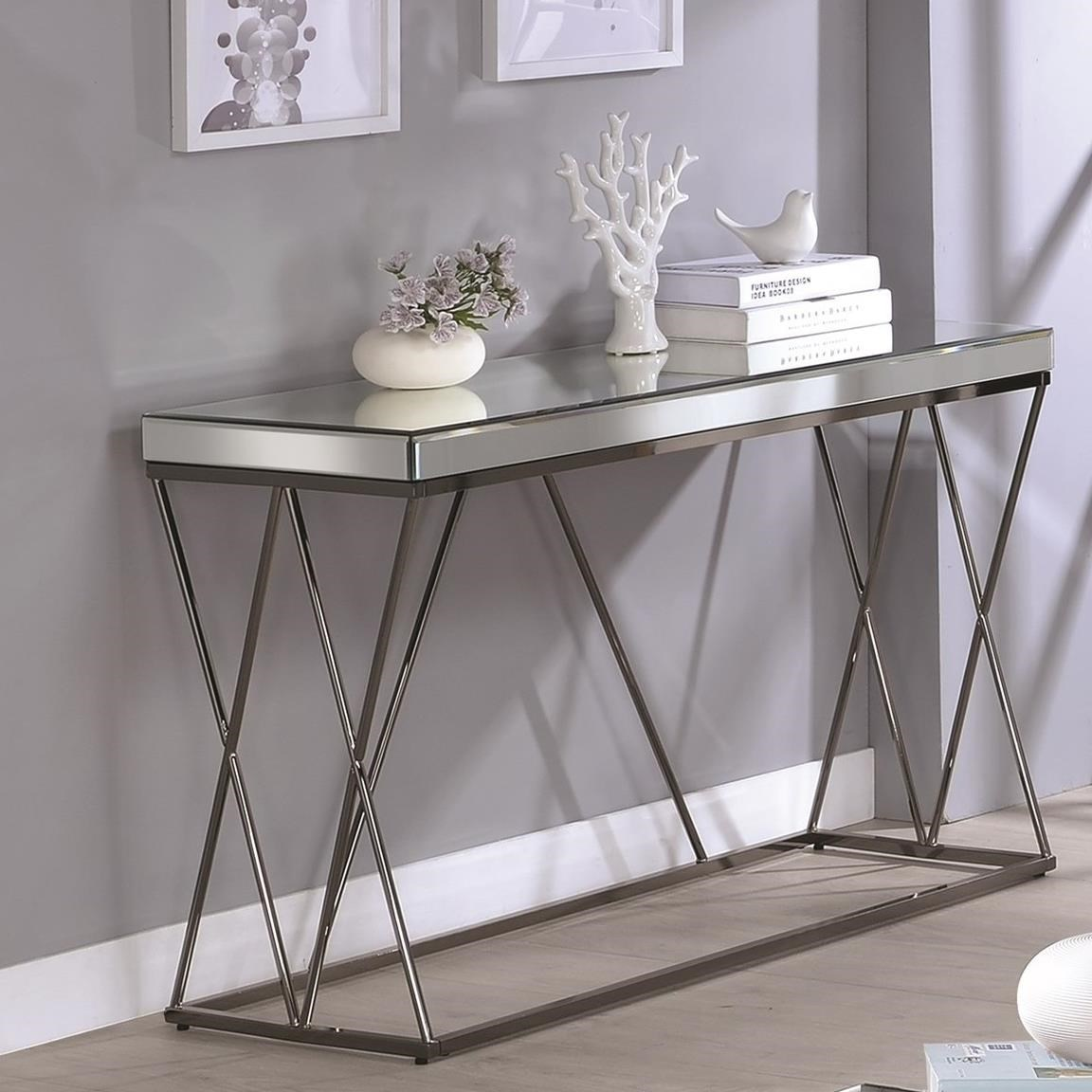 705479 contemporary mirrored sofa table with metal legs