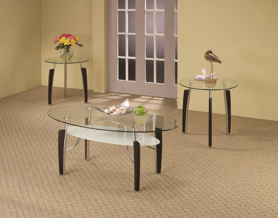 701558 3-piece contemporary round coffee & end table set