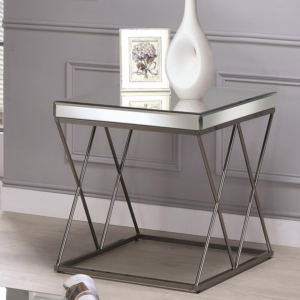 705477 contemporary mirrored end table with metal legs