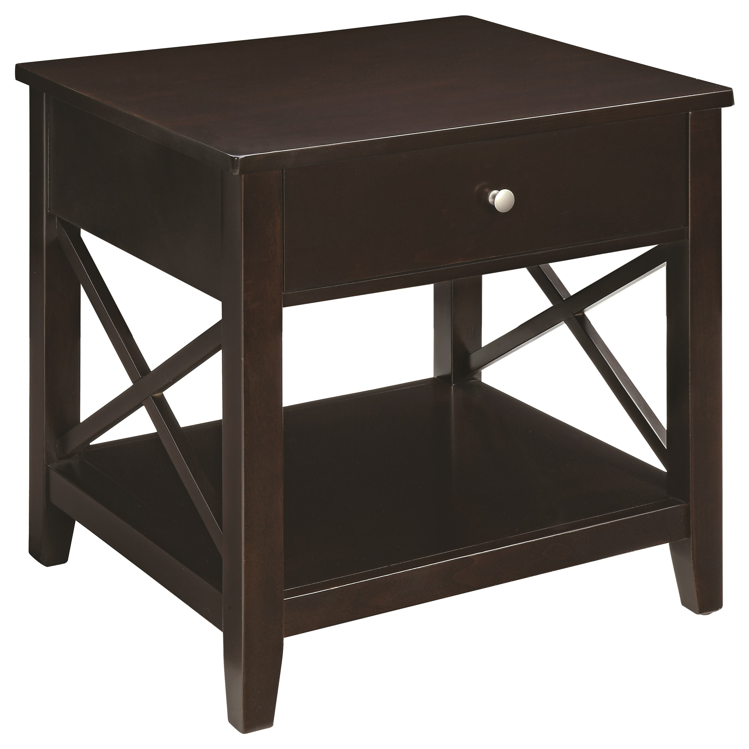 705687 transitional end table with x-supports