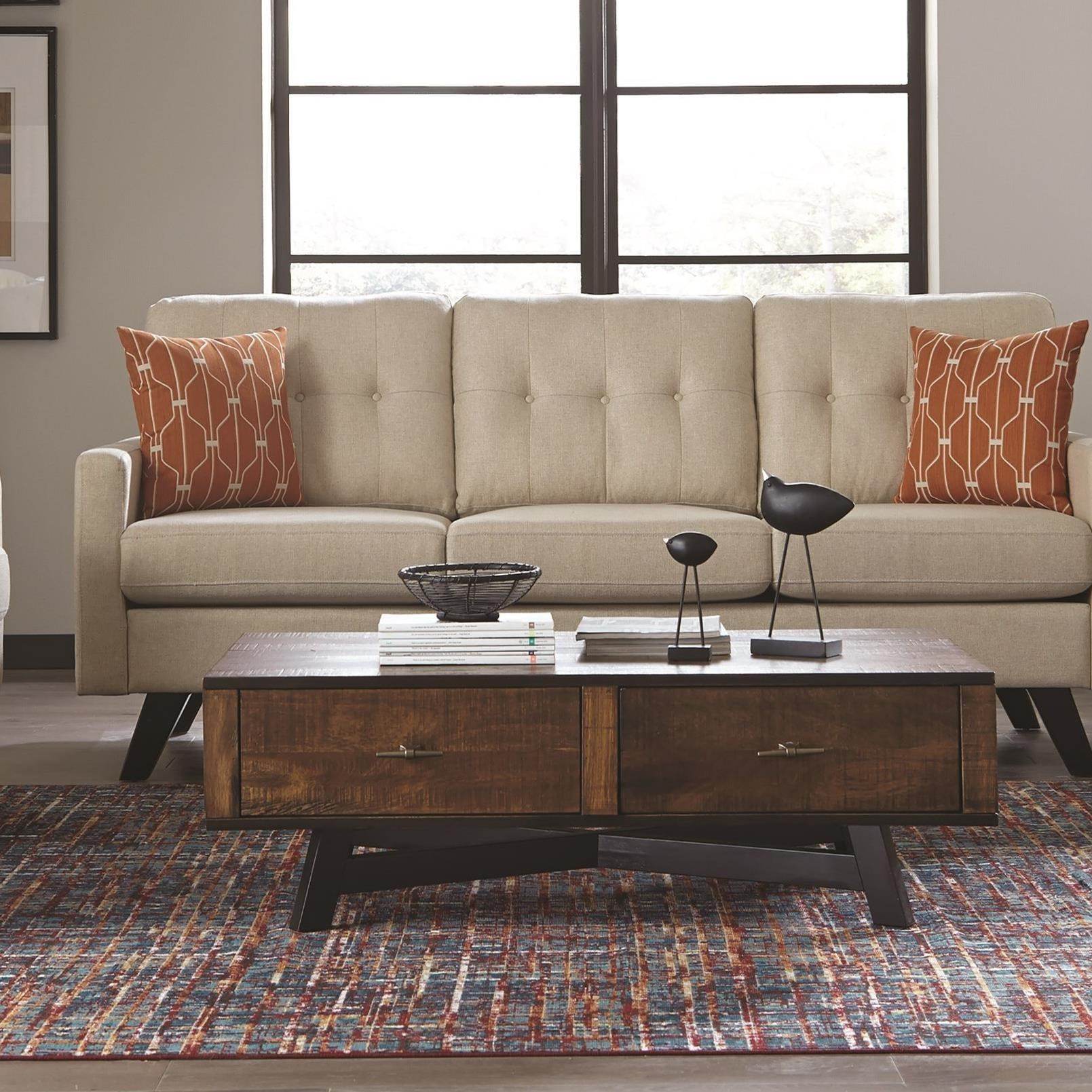705638 rustic coffee table with metal x-base