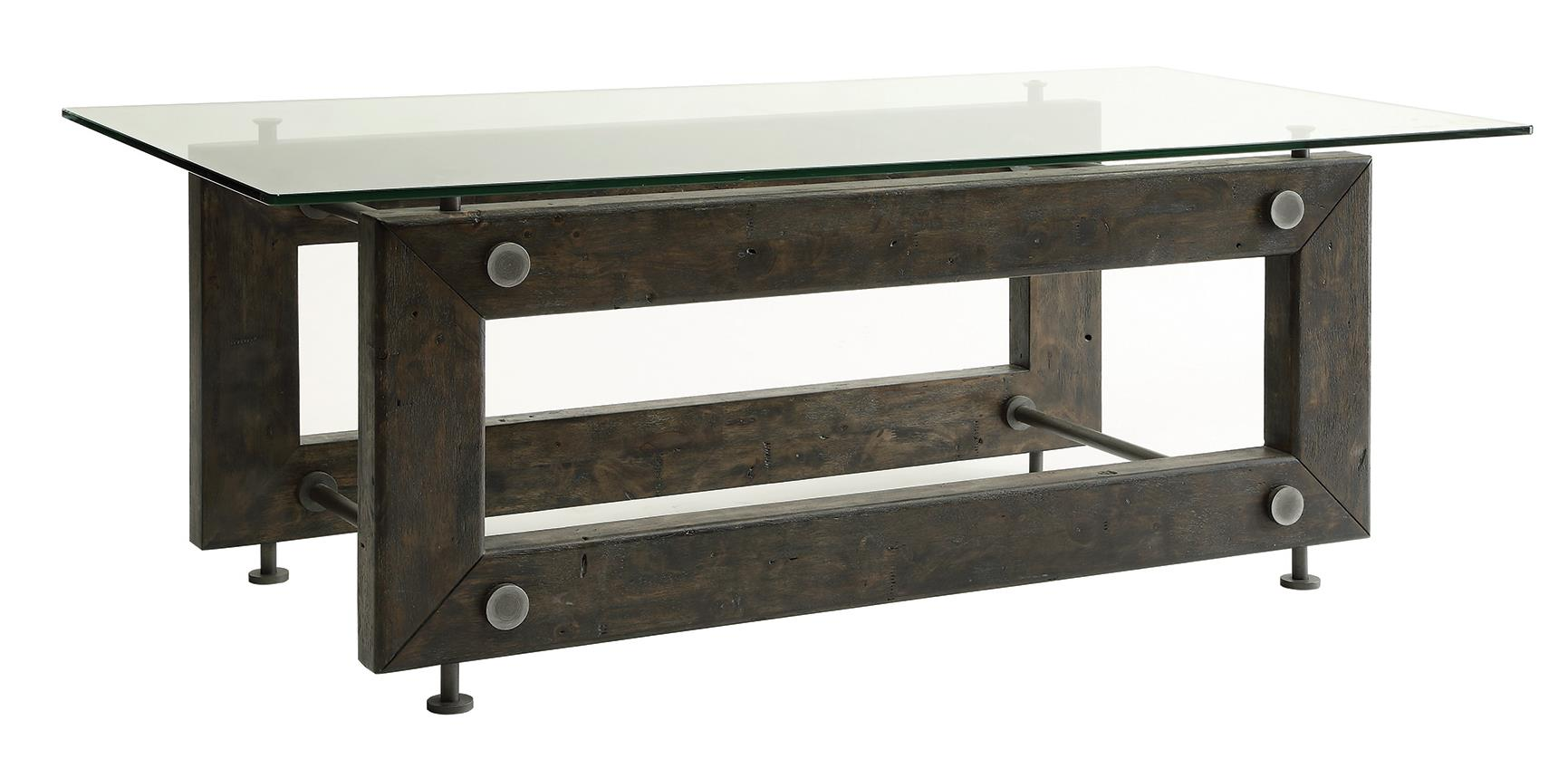 704278 industrial coffee table with tempered glass top