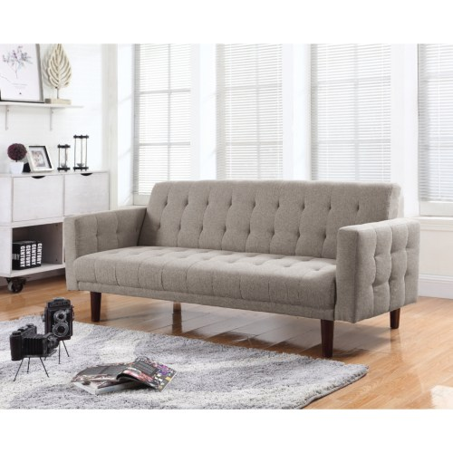 Button tufted sofa bed with chenille upholstery