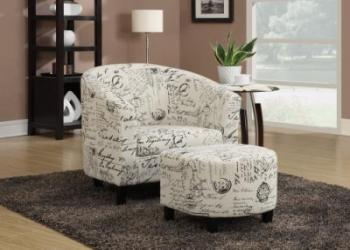 Chair with ottoman french script