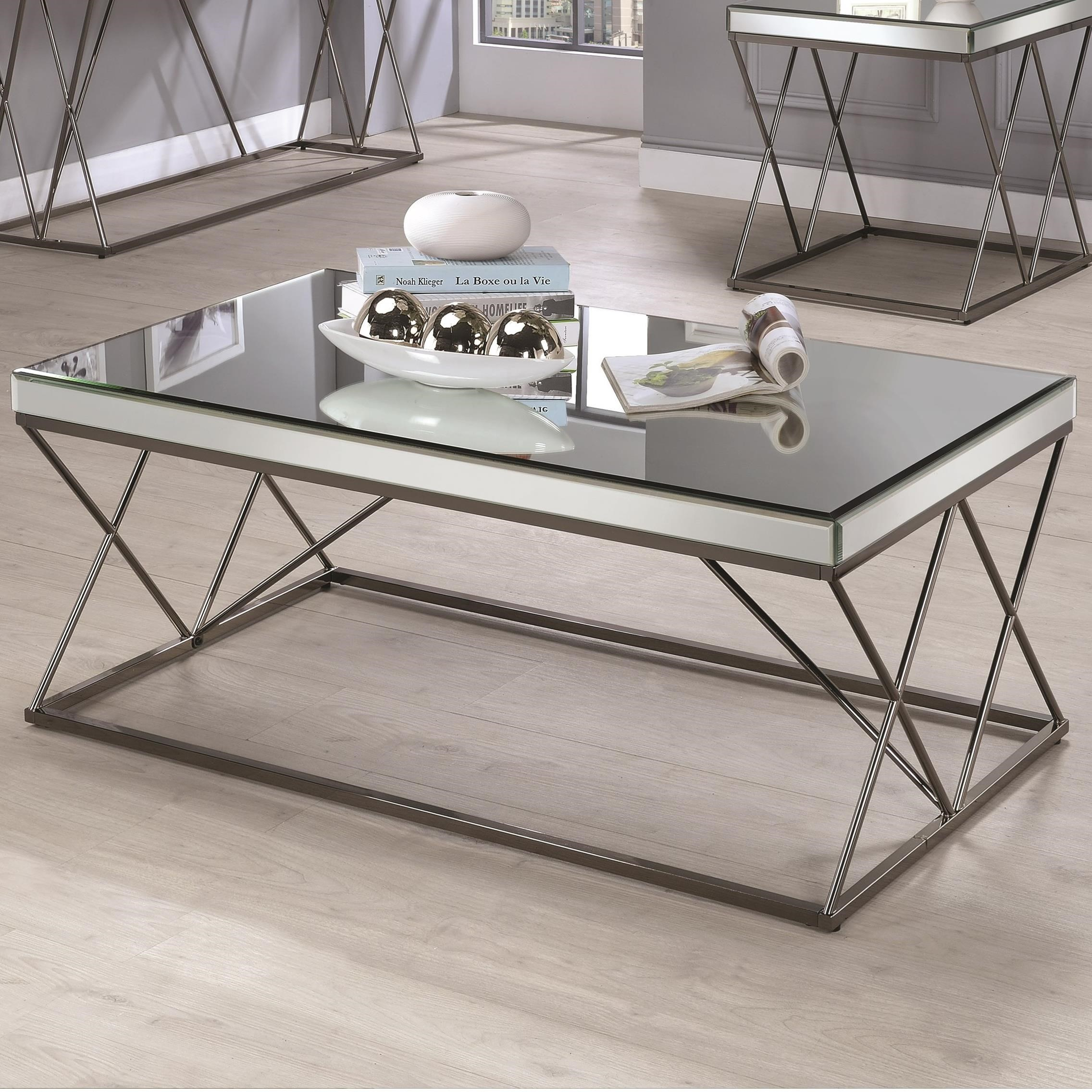 705478 contemporary mirrored coffee table with metal legs