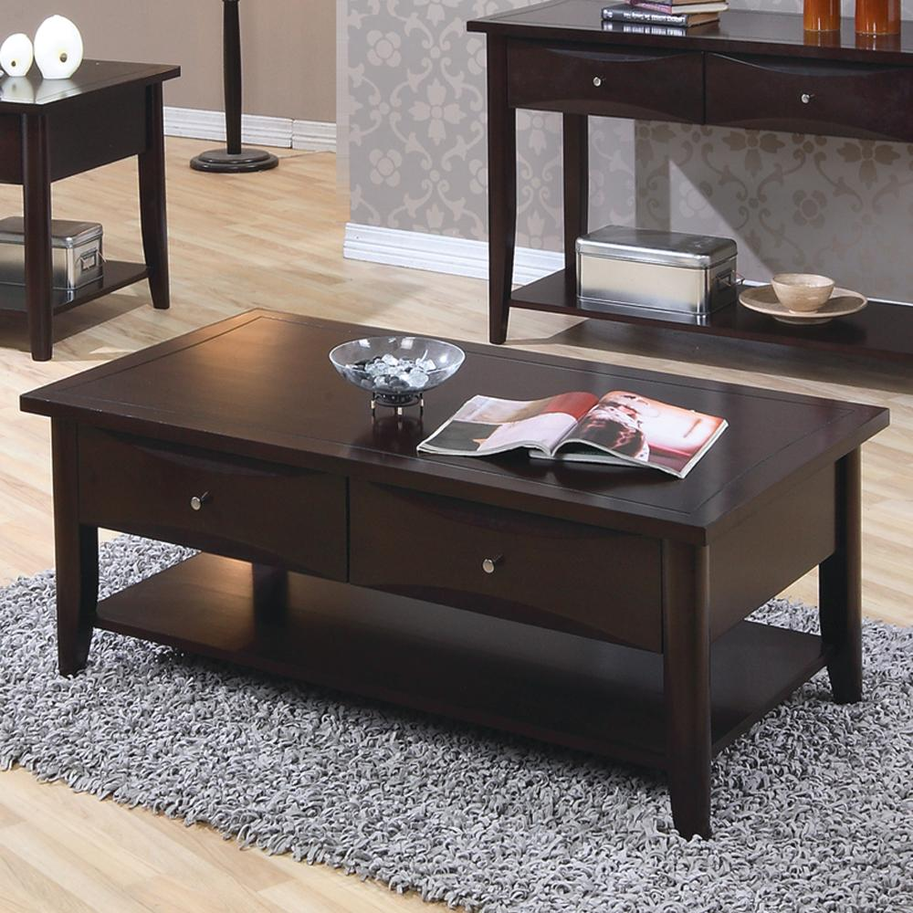 700968 whitehall coffee table w/ shelf & drawers