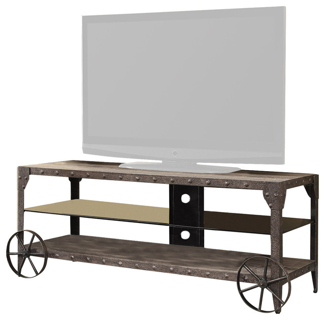 Coaster Tv Console Weathered Brown Or Antique Patina Metal 700216